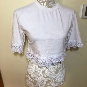 Topshop white crop blouse with lace, size 2